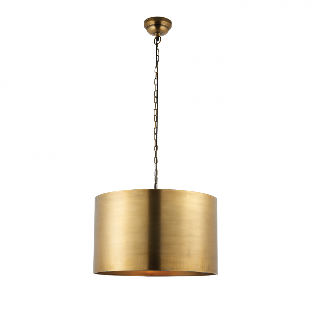 Image of Aged Brass Effect Plate 1lt Pendant 40W by Happy Homewares