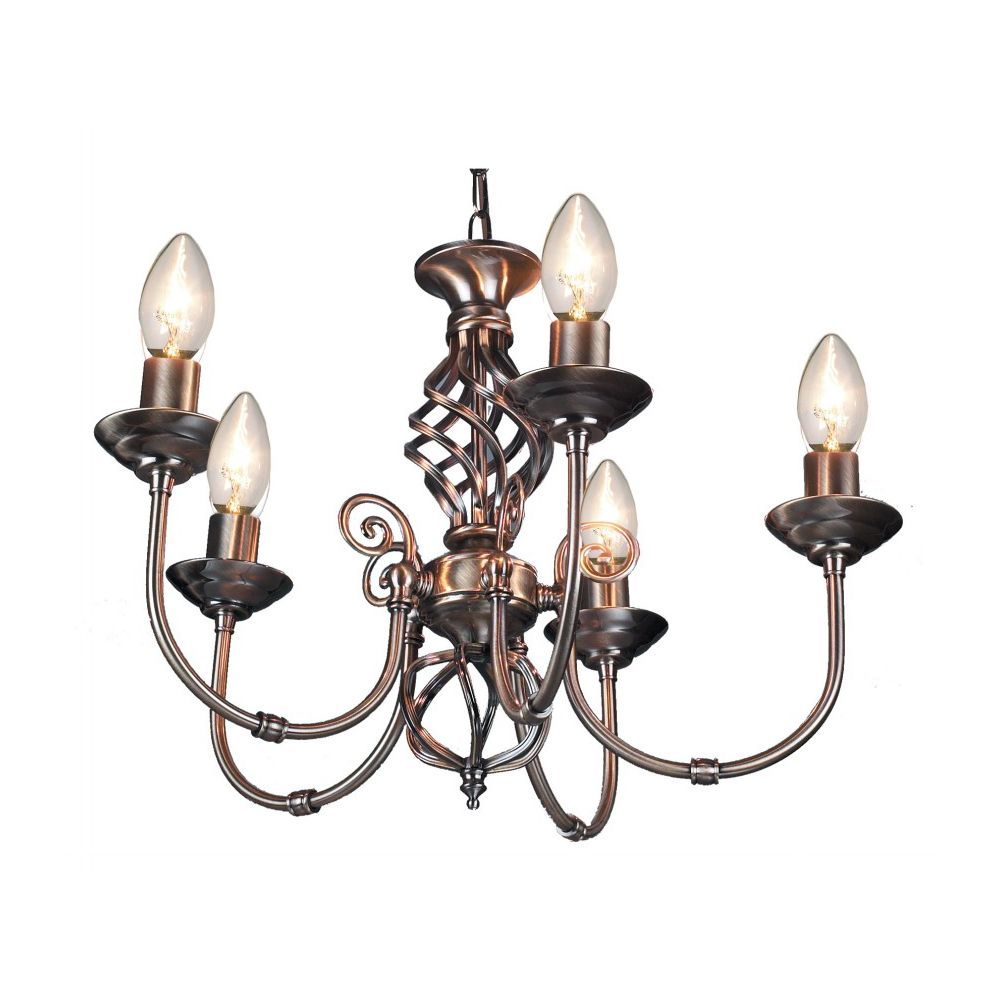 Image of 5 Light Antique Brass Classic Knot Twist Chandelier Ceiling Light Fitting by Happy Homewares