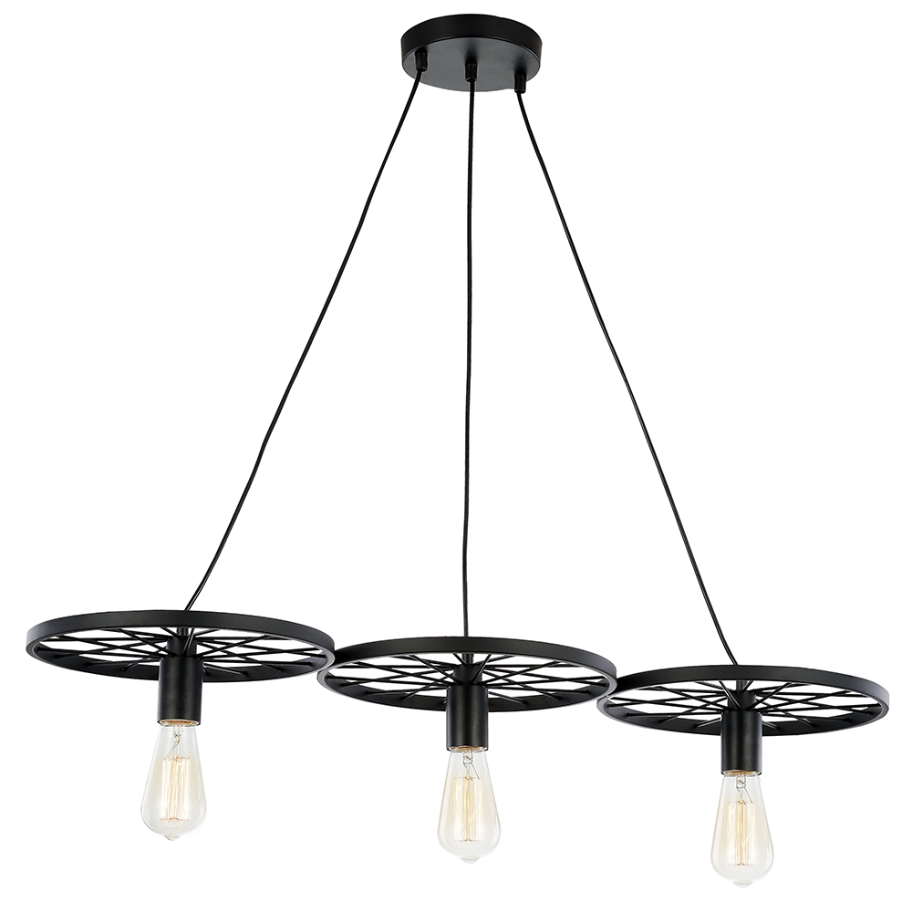 industrial designed triple cartwheel pendant ceiling light
