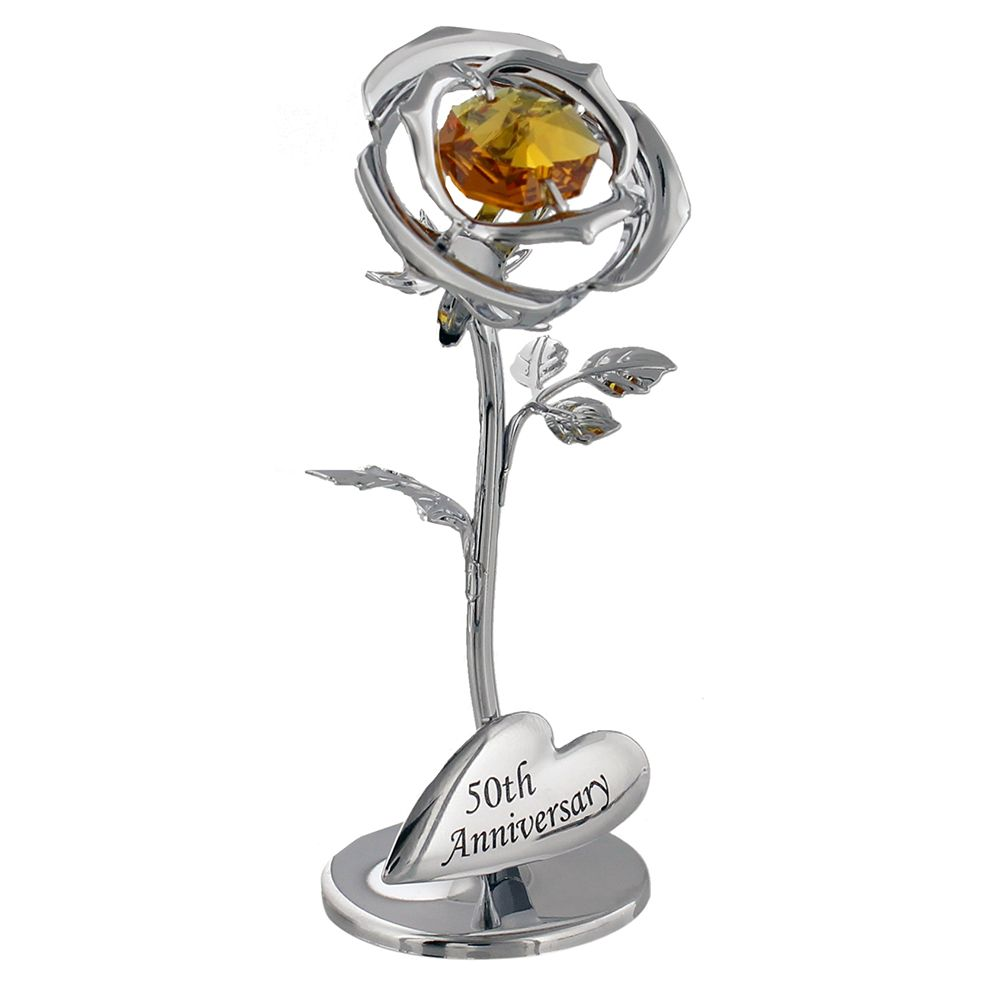"""Image of """"50th Anniversary"""" Silver Plated Flower with Golden Swarovski Crystal Glass by Happy Homewares"""