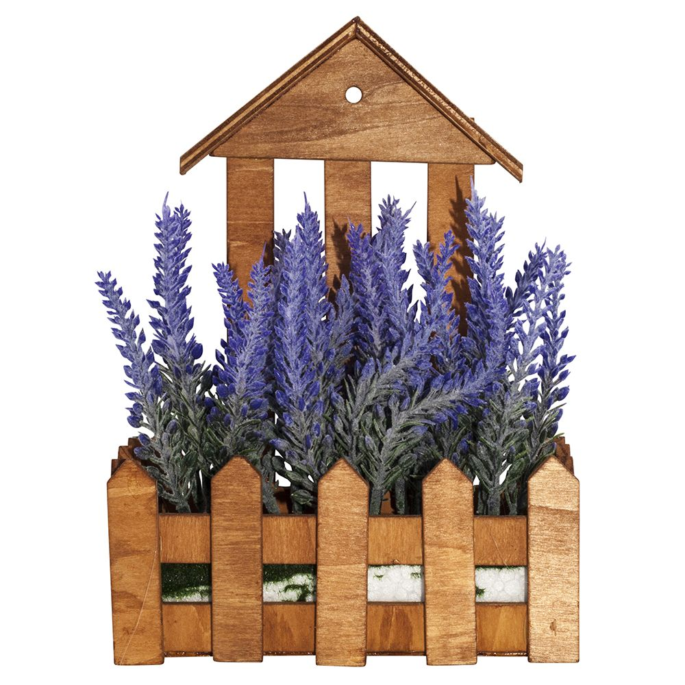 Image of Artificial Purple Lavender in Charming Wooden Planter by Happy Homewares