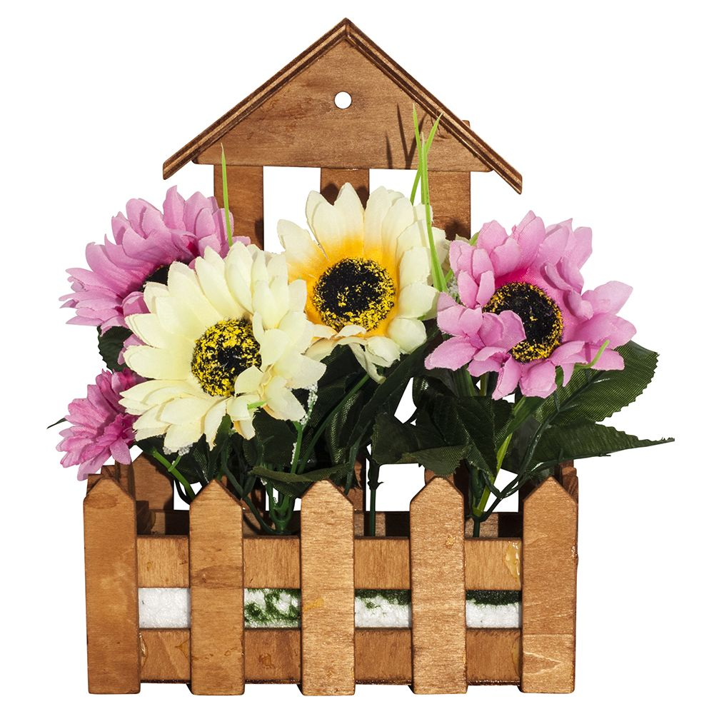 Image of Artificial White and Pink Daisies in Charming Wooden Planter by Happy Homewares