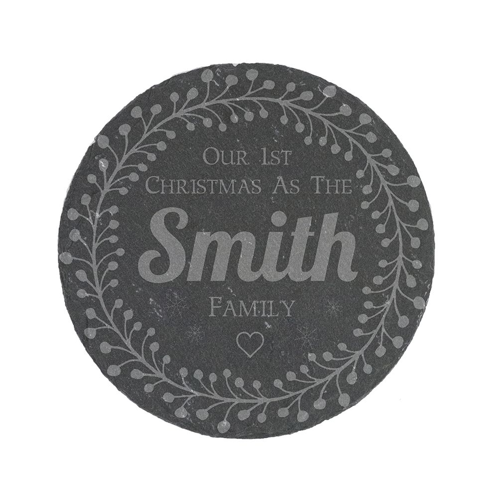 Image of 1st Christmas as a Family Personalised Slate Coaster with Decorative Design by Happy Homewares