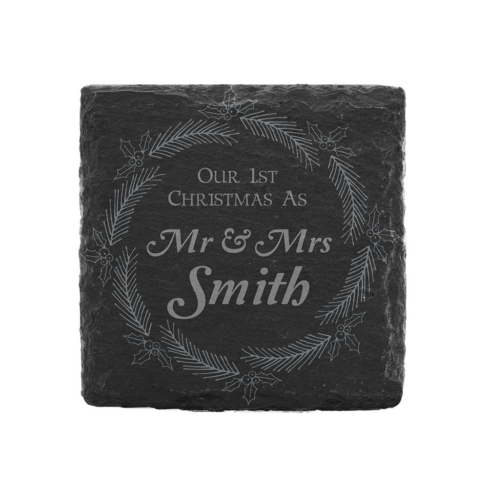 Image of 1st Christmas as Mr and Mrs Slate Square Coaster with Christmas Design by Happy Homewares