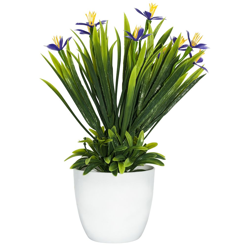 Image of Artificial Mini Purple and Yellow Daffodils in White Plastic Vase by Happy Homewares