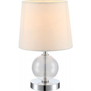 Contemporary Chrome Bedside Table Lamp with Glass Ball