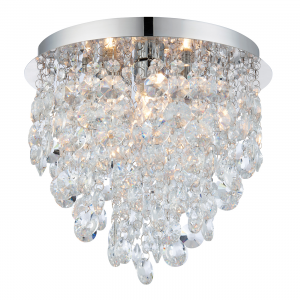 Clear Crystal Detail & Chrome Effect Plate 3lt Flush IP44 18W