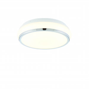 White Acrylic & Chrome Effect Plate Flush IP44 15W