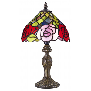 Red and Pink Rose Decorated Stained Glass Tiffany Lamp