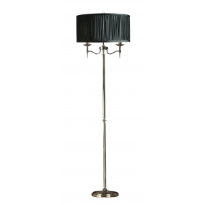 Floor Light - Polished nickel plate & black organza effect fabric