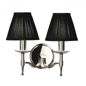 Wall Light - Polished nickel plate & black organza effect fabric