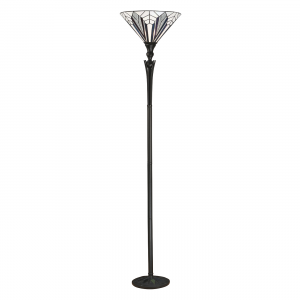 Floor Light - Tiffany style glass & satin black paint with iridised glass inserts