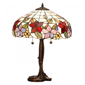 Table Light - Tiffany art glass & dark bronze paint with highlights