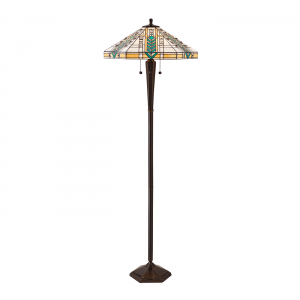 Floor Light - Tiffany style glass & deep antique patina