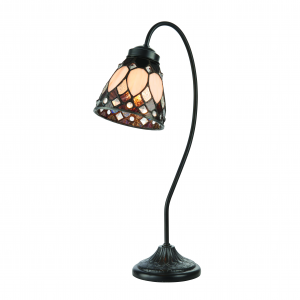Table Light - Dark bronze paint with highlights & tiffany style glass