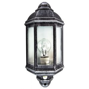 Traditional PIR Sensor Outdoor Wall Light with Black and Silver Die-Cast Frame
