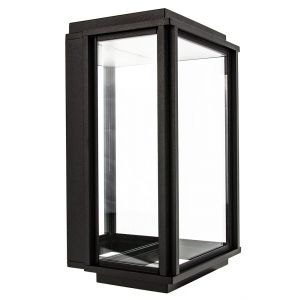 Modern LED Lantern Outdoor Wall Light with Black Frame and Mirrored Backplate