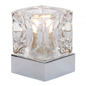 Modern Ice Cube Touch Dimmable Table Lamp with Polished Chrome Base