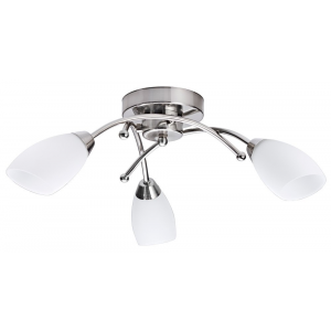 Contemporary 3 Arm Brushed Satin Chrome Ceiling Light Fitting