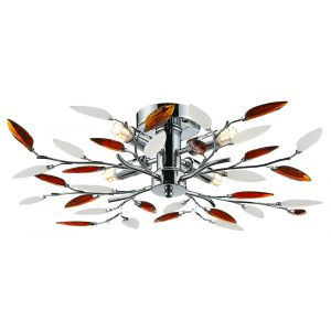 Modern Willow 4 Light Ceiling Light with Frosted Clear & Amber Leaves
