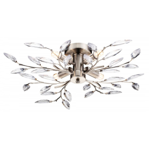Modern Willow 4 Light Semi Flush Satin Chrome Ceiling Light with Clear Leaves