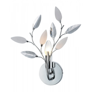 Modern Willow Chrome Wall Light Fixture with Clear and White Leaves