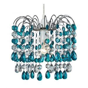 Contemporary Pendant Shade with Teal Acrylic Droplets