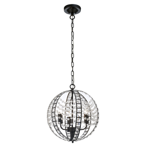 Unique Dark Bronze Pendant Light with Clear Crystal Glass Decoration