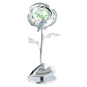 """55th Anniversary"" Silver Plated Flower with Green Swarovski Crystal Glass"