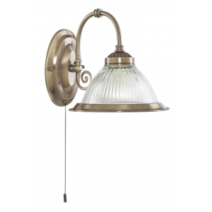 American Diner Wall Light in Antique Brass with Pull Switch