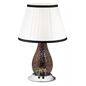 Modern 3D Effect Glass Double Switched Table Lamp with White Shade