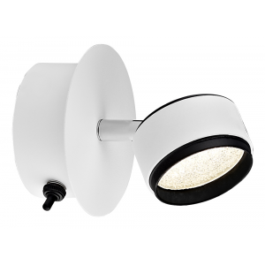 Contemporary Matt White LED Wall Spot Light with Black Toggle Switch