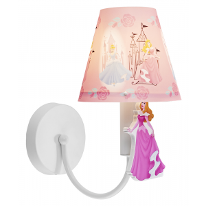 Princess Themed Girls Wall Light with White Metal Base and Arm