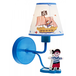 Pirate Themed Boys Wall Light with Blue Metal Base and Arm