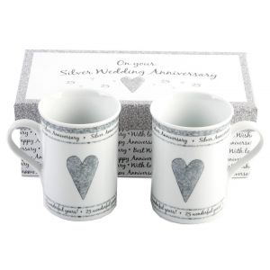 Beautifully Designed 25th Silver Anniversary Mug Set with Matching Gift Box