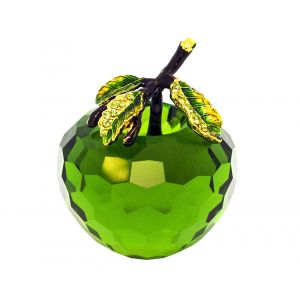 Pure Crystal Glass Green Apple with Leaf Decoration Ornament