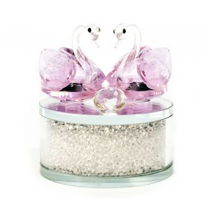 Pair of Pink Crystal Swans Ornament with Circular Frosted Glass Base