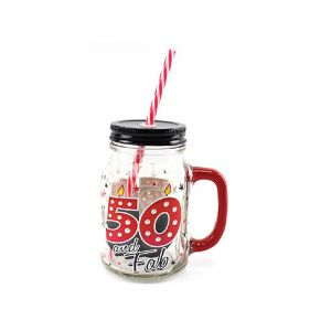 Cocktail Drinking Mason Jar With Lid and Straw 500ml - 50th Birthday