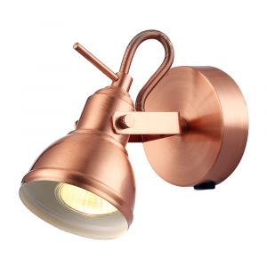Unique Industrial Designed Brushed Copper Switched Wall Spot Light