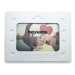 Pretty and Eye-Catching Engagement Picture Frame with Hearts in White Gloss MDF
