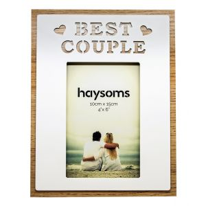 "Best Couple Oak Effect 6"" x 4"" Picture Frame with White Gloss Metal Front"
