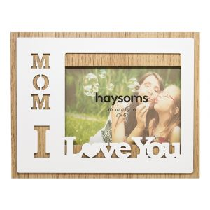 "Mom I Love You Oak Effect 4"" x 6"" Picture Frame with White Gloss Metal Front"