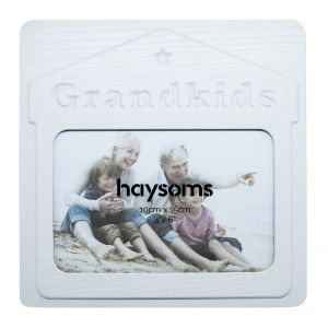 "Grandkids 4"" x 6"" Picture Frame in White Gloss Driftwood Effect MDF"