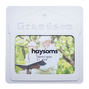 "Grandson 4"" x 6"" Picture Frame in White Gloss Driftwood Effect MDF"