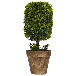 Large Artificial Rectangular Shrub in Rustic Brown Clay Pot