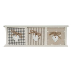 Cute Shabby Chic Set of Three Patterned Drawers with Heart Icons