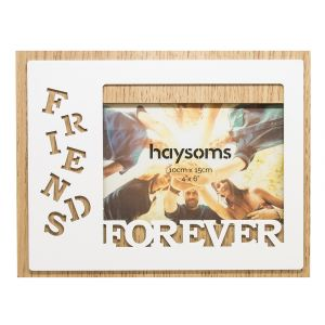 "Friends Forever Oak Effect 4"" x 6"" Picture Frame with White Gloss Metal Front"