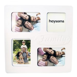 Beautiful Family Collage Picture Frame in White Gloss MDF