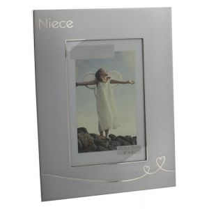 "Modern Two Tone Brushed Silver Niece 6"" x 4"" Picture Frame"