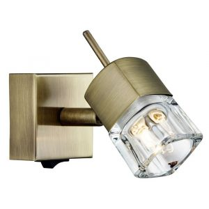 Compact Antique Brass Switched Wall Light with Ice Cube Shade